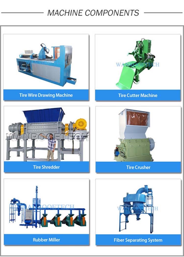 Car Tire Shredder Rubber Powder Production Line Waste Tyre Recyling Line