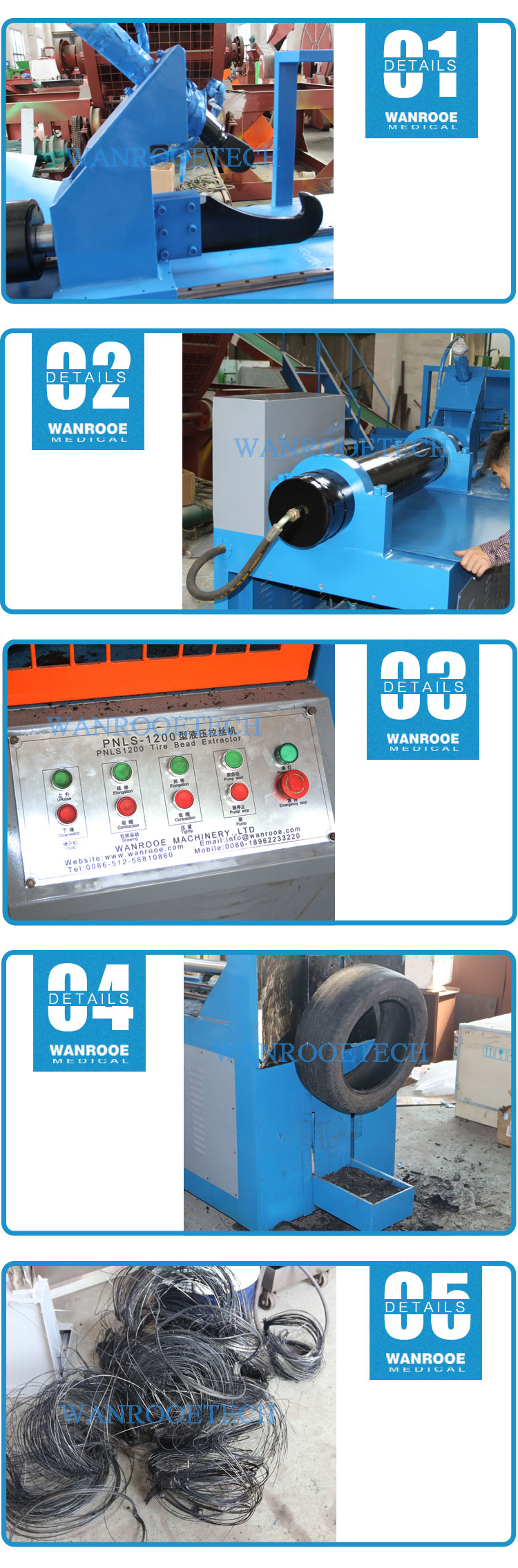 Watse Tire Recycling Debeader Tire Wire Drawing Machine